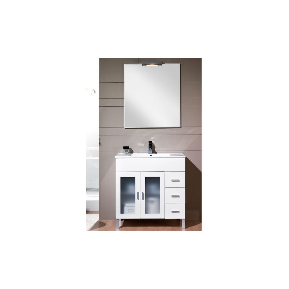 espejo + lavabo – Lacado blancomadera  Mueble Baño Blanco Lacado
