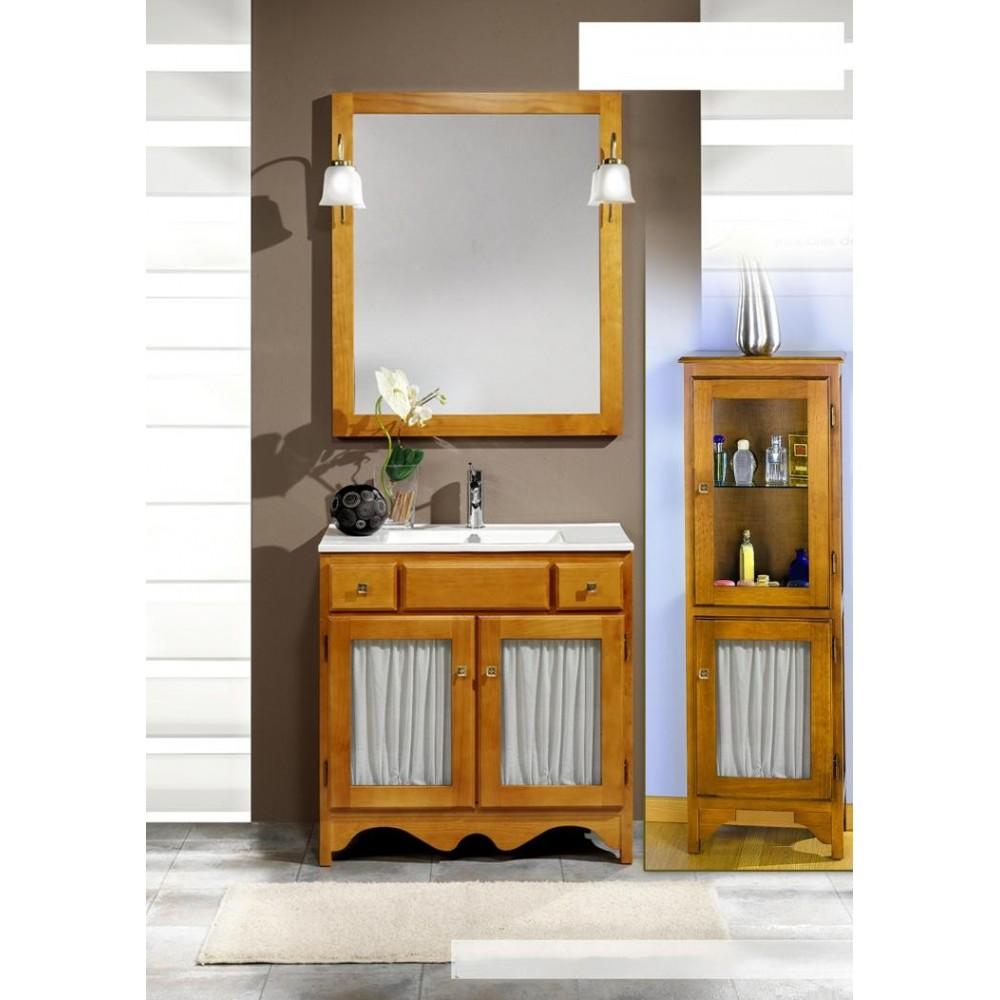Muebles de ba o rustico visillo 100 cm for Muebles de lavabo de 70 cm