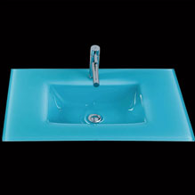 Encimera cristal azul